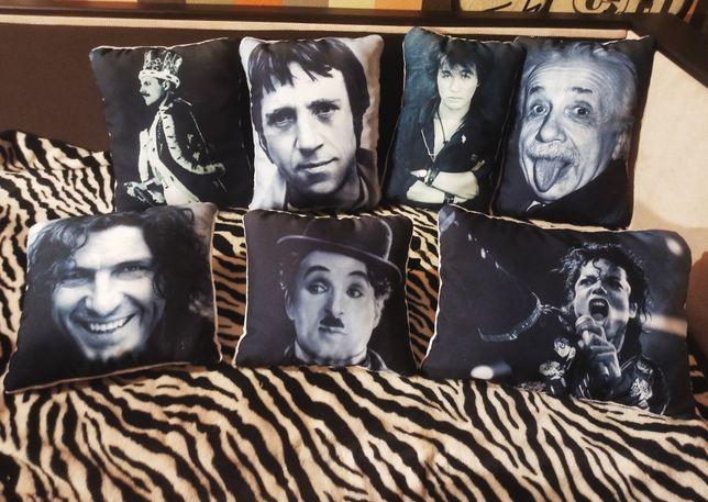 Декоративные подушки Высоцкий, Майкл Джексон, Чарли Чаплин, Эйнштейн,