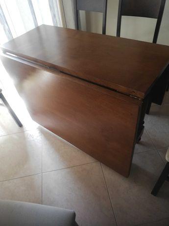 Mesa de jantar madeira maciça dobrável