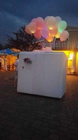 Balony na hel, Świecące litery napis dekoracje balowe, pudło prezent