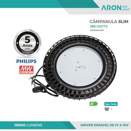 Campânula industrial LED SLIM 150W 5000K 19500Lm Dimável