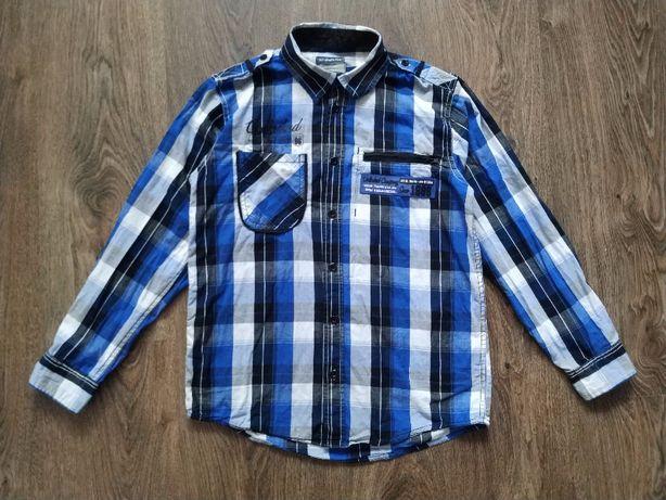 Синяя рубашка в клетку для мальчика 9-10 лет