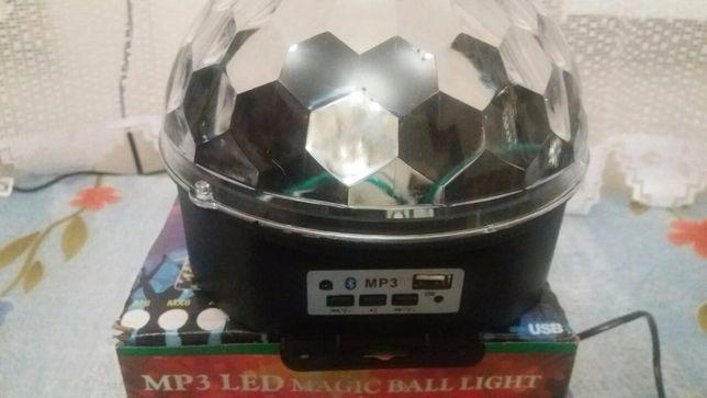 Диско шар music Crystal ball MP3 светодиоды 6 шт с блютузом