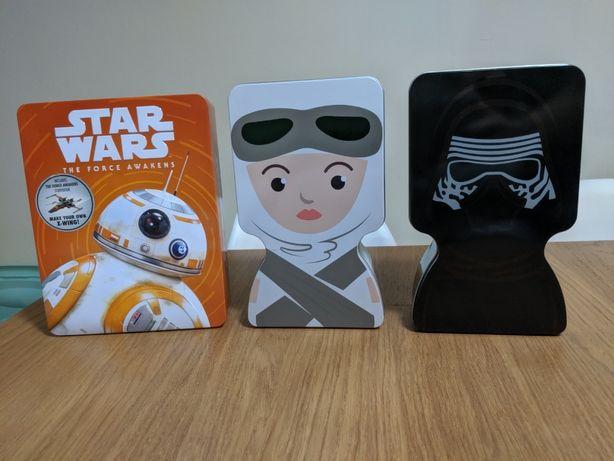 Caixa Lata Star Wars Continente + colecção bonecos bustz pop kylo Ren