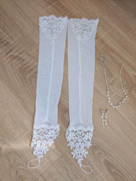Перчатки  свадебные, колье, весільні, сережки.