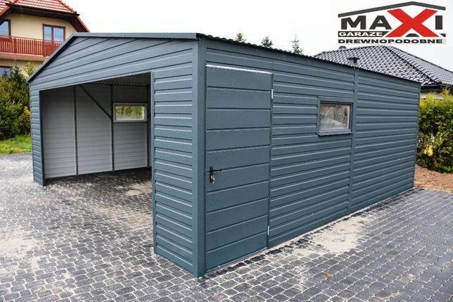 Garaz blaszany, konstrukcja ocynk, profil, drewnopodobny, MAXI
