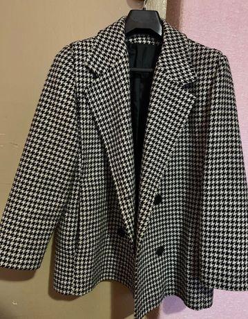 Пальто пиджак принт «гусиная лапка»