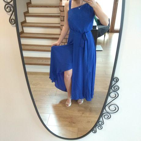 Długa granatowa, niebieska sukienka z rozcięciem zwiewna elegancka xs