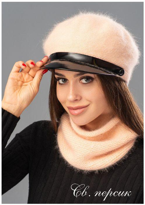 женская стильная кепи фуражка хомут снуд ангора комплект шапка Харьков - изображение 1