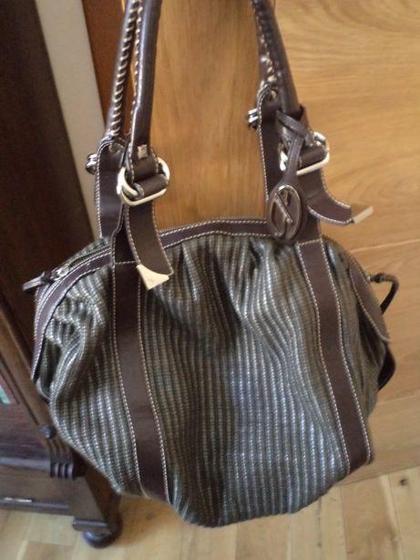 Piękna duża torebka Francesco Biasia - brązowosrebrna