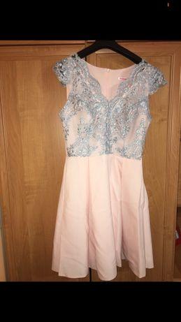 Różowo-szara sukienka