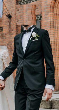 Garnitur ślubny męski BYTOM czarny ok.190cm + koszula + mucha + szelki