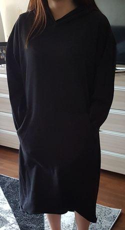 Czarna długa damska bluza