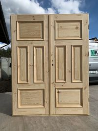Drzwi Dwuskrzydłowe drewniane LITE SZCZOTKOWANE postarzane retro
