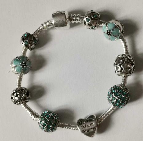 Bransoletka Modułowa Charms jak Pandora 18cm Niebieska