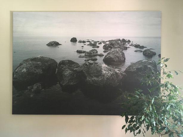 Quadro/tela tons de cinza esverdeado