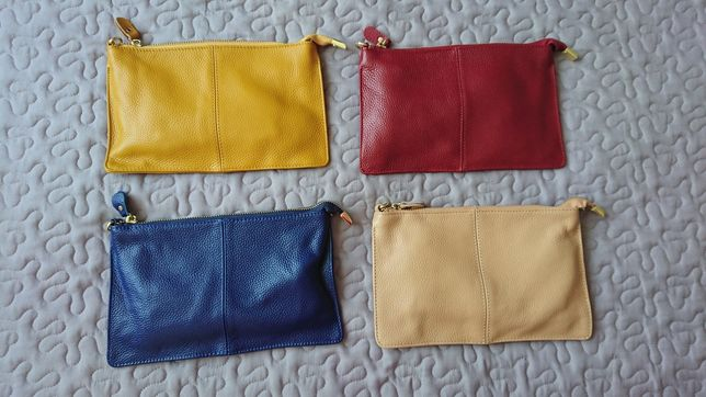 Nowa skorzana torebka kopertówka w czterech kolorach