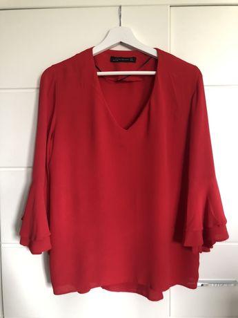 Czerwona bluzka rękaw 3/4 rozmiar s