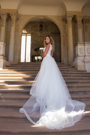 Suknia ślubna ślubna Eva Lendel Tailor 2w1 odpinany tren Chloe Madonn