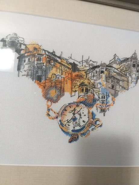"""Вышитая картина.""""Часы города"""""""