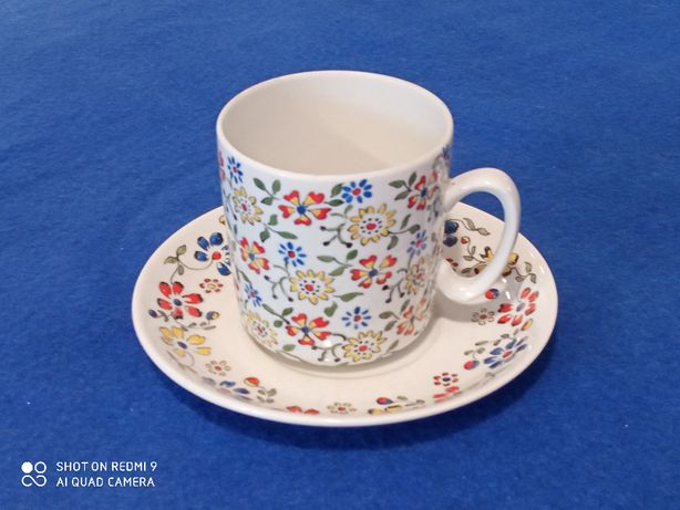 Komplet 3 filiżanka talerzyk porcelana opolska przed 1975 design PRL
