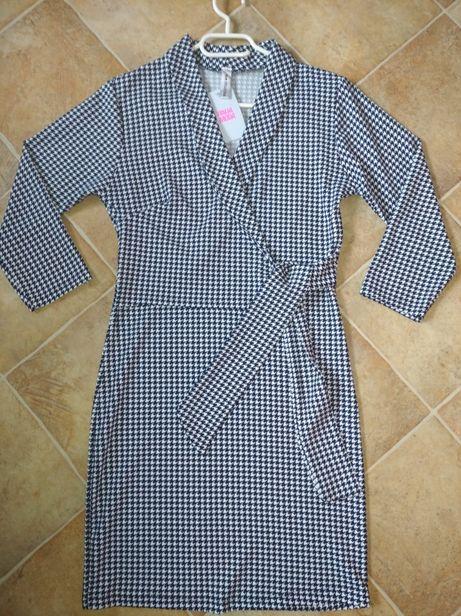 NOWA Sukienka czarno biała kopertowa wiązana 36-38