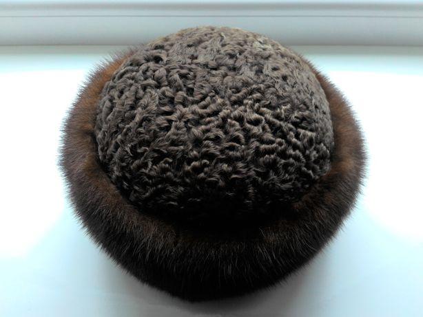 Женская шапка из норки и каракуля (натурального)