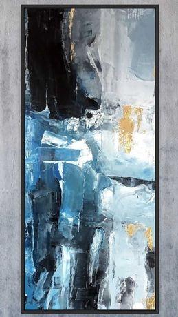 Olejny obraz do wnętrza abstrakcja złoty