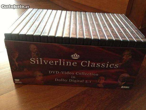 Caixa com 20 DVDs com concertos de música clássica