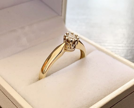 Pierścionek złoty z DIAMENTEM 0,28ct - piękny, zaręczyny. Brylant
