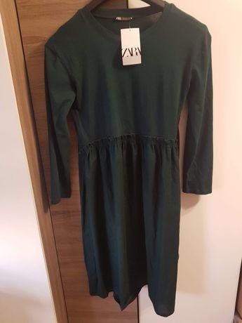 Sukienka bawełniana butelkowa  zieleń S Zara