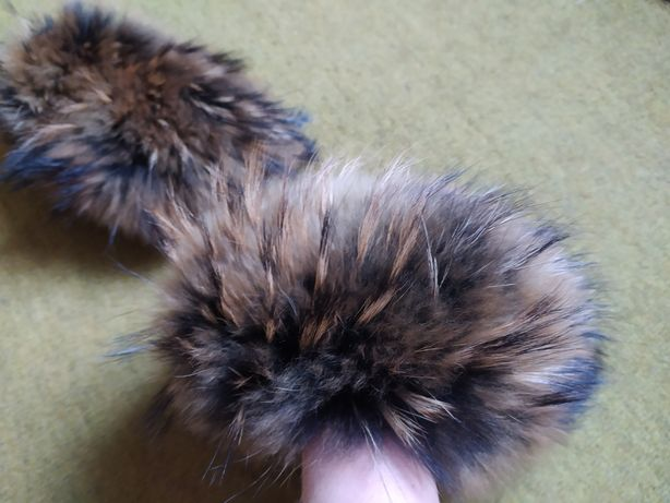 Опушка на рукава натуральный мех енота хутро манжеты поделки рукоделия