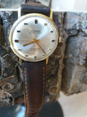 Zegarek męski złoty , Intermat anker 17 rubis ,sprawny ,stary antyk