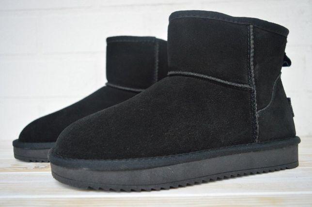 5041 It ts угги черные короткие сапоги ботинки зима мех уги угі