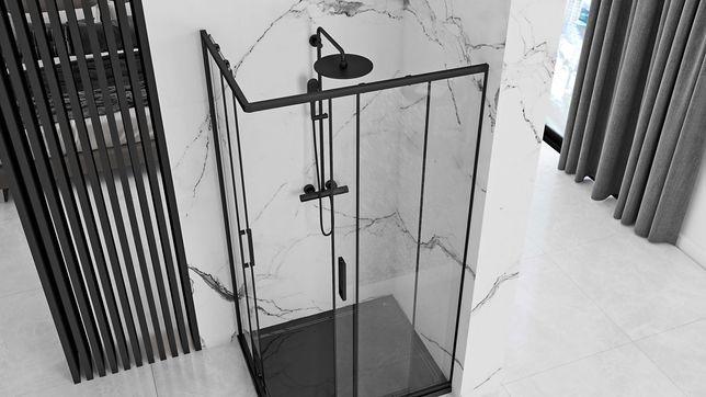 Kabina prysznicowa PUNTO 80x100 czarna rozsuwna