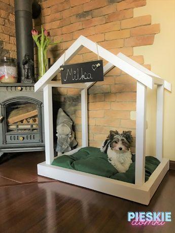 Domek dla psa legowisko drewniane modny z poduszką