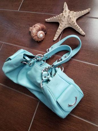 Голубая кожаная сумка.. Juicy couture. Идеальное состояние. Оригинал.