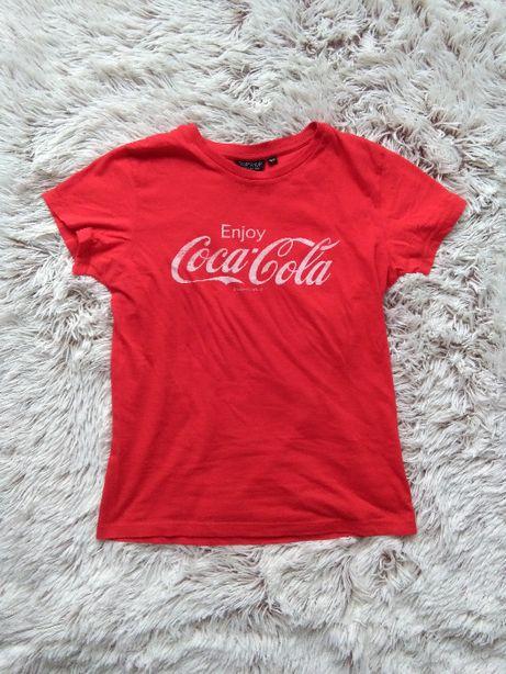 Topshop dopasowany czerwony t-shirt z nadrukiem Coca-Cola vintage