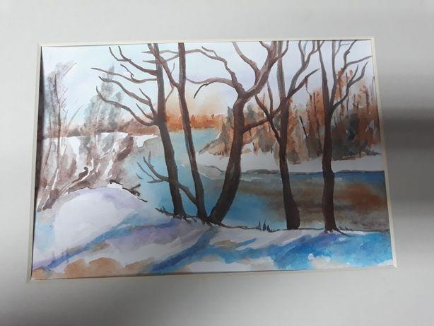 Akwarela las rzeka łąka