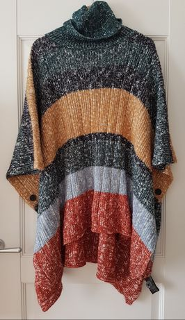 Piękny sweter ponczo peleryna H&M M L one size wiosna