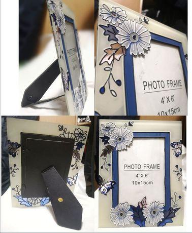 Новая Рамка для фото 10×15 голубая стеклянная настольная