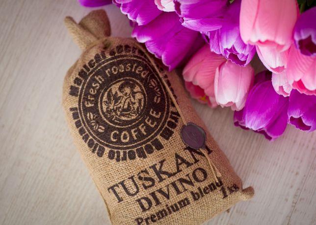 Образец идеального зернового кофе TUSKANI DIVINO. Кава в зернах