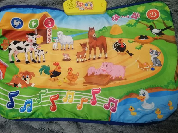 Большой развивающий коврик, плакат с животными Файна ферма