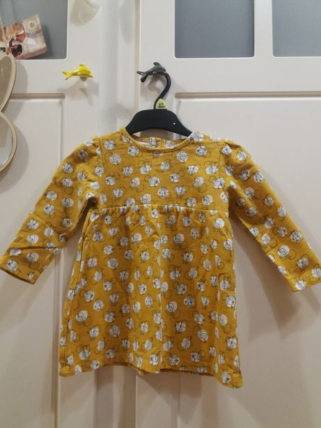 Musztardowa sukienka TU, 80 -86