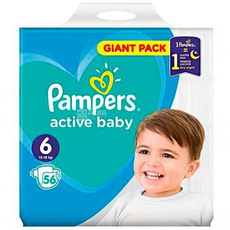 Pampers ACTIVE BABY размер 6 (13-18 КГ) 56 шт