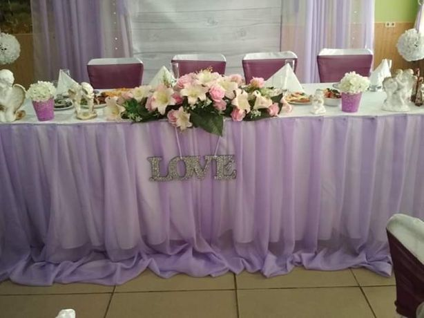 Шифон фіолетовий, фиолетовый, декор, свадьба, скатерть