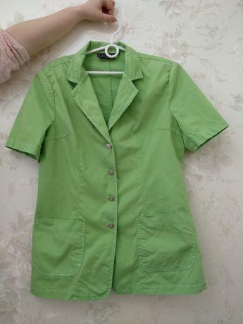 Кардиган блуза цвета сочной травы в джинсовом стиле.коттон.
