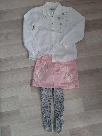 Komplet spodniczka, koszula i rajstopy roz.116