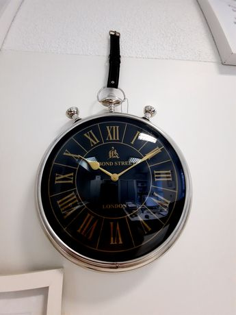 Zegar ścienny glamour czarno srebrny prezent święta