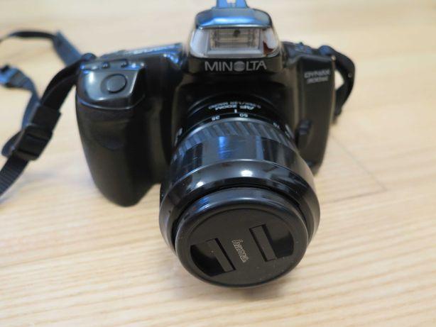 Analogowy aparat fotograficzny Minolta + obiektyw