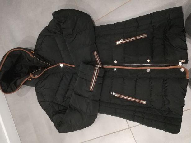 R. XXL czarna, zimowa kurtka damska, ciepła długa